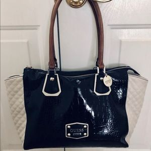 Women s Black And White Guess Quilted Bag on Poshmark a4f6567473e2c